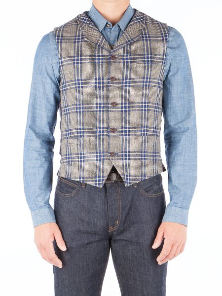 Gibson Taupe With Bold Blue Check Vest