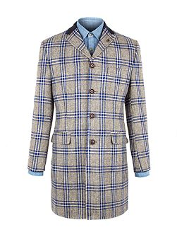 Taupe With Bold Blue Check Long Jacket