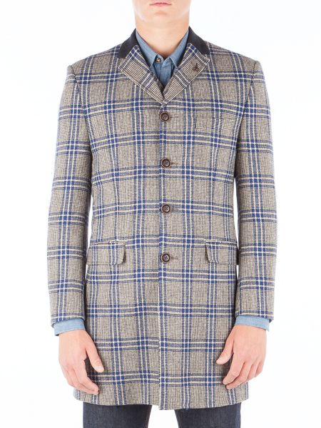 Gibson Taupe With Bold Blue Check Long Jacket