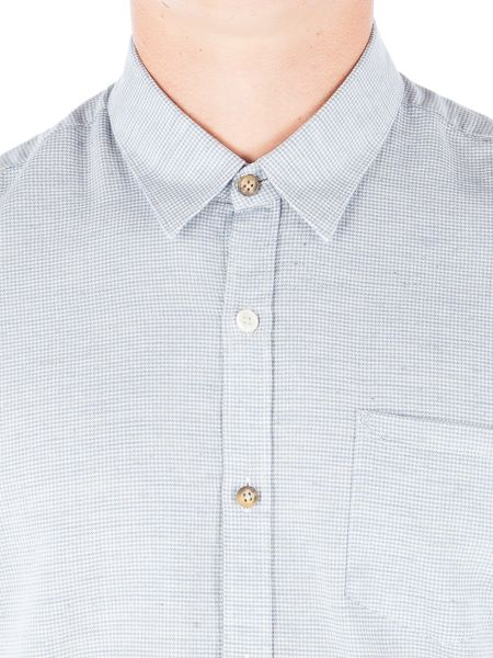 Gibson Blue Mini Check Long Sleeved Shirt
