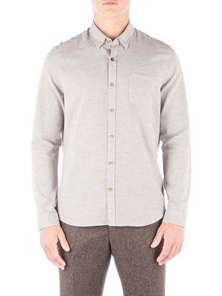 Gibson Taupe Mini Check Long Sleeved Shirt
