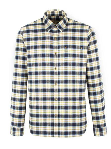 Gibson Navy And Gold Check Long Sleeved Shirt