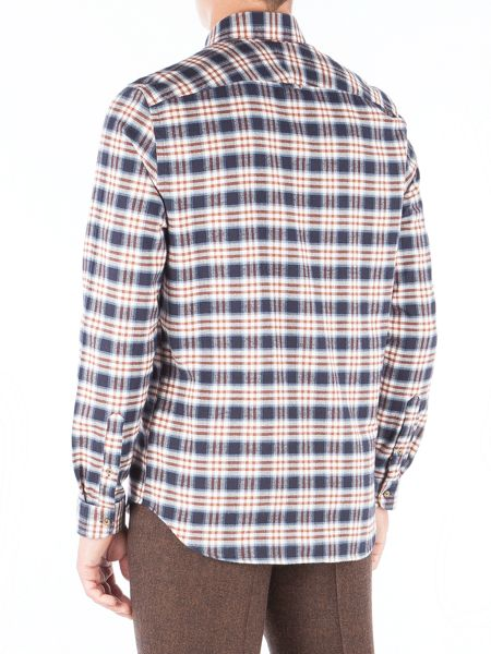 Gibson Navy And Burgundy Long Sleeved Shirt