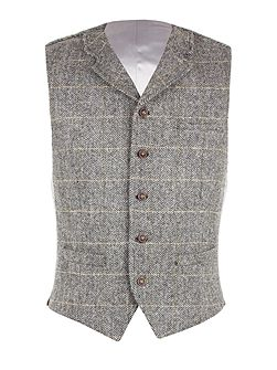 Grey Herringbone Check Vest