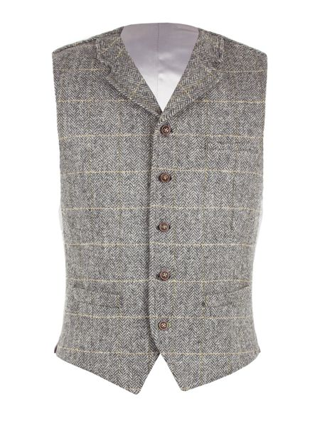 Gibson Grey Herringbone Check Vest