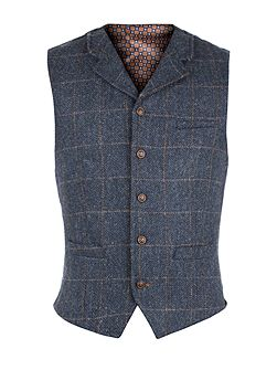 Navy Herringbone Check Vest