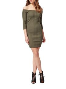 Petites Khaki Rib Bardot Dress