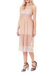 Miss Selfridge Nude Collar Lace Prom Dress