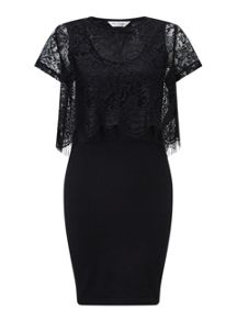 Miss Selfridge Black Eyelash Lace Midi Dress