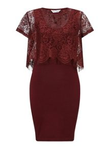 Miss Selfridge Burgundy Lace Midi Dress
