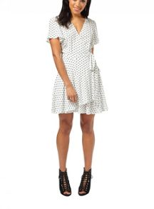 Miss Selfridge Petites Ivory Spot Wrap Dress
