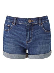 Miss Selfridge Mid Wash Roll Hem Denim Short