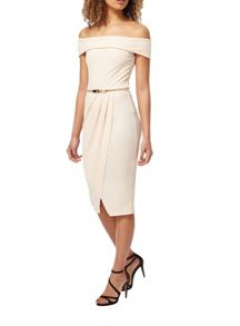 Miss Selfridge Nude Bardot Pencil Dress