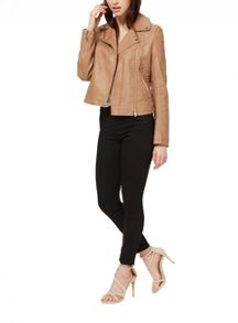 Miss Selfridge Tan Faux Leather Biker
