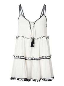 Miss Selfridge Mono Trim Tiered Cami