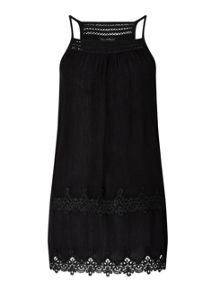 Miss Selfridge Black Lace Trim Cami