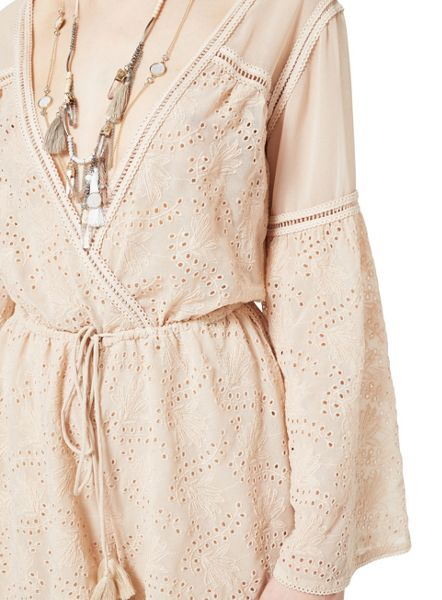 Miss Selfridge Embroidered Broderie Playsuit