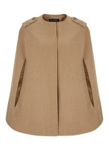 Miss Selfridge Camel Collarless Cape Coat