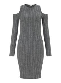 Miss Selfridge Grey Cold Shoulder Rib Dress