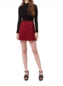 Petites Burgundy Button Skirt