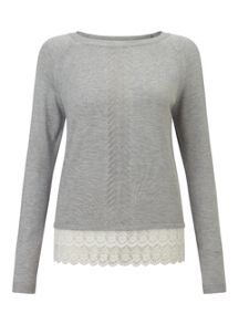 Miss Selfridge Grey Lace Hem Pointelle Jumper
