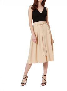 Miss Selfridge Camel Tie Waist Midi Skirt.