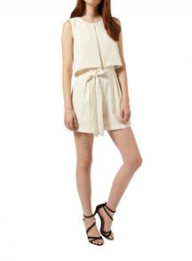 Miss Selfridge Cream Invert Pleat Playsuit