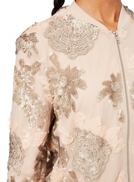 Miss Selfridge Blush Sequin Detail Bomber