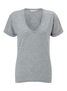 Miss Selfridge Grey Longline V Tee