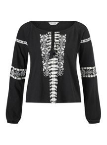 Miss Selfridge Black Embroidered Gypsy Top