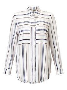 Miss Selfridge Nude Vari Stripe Shirt