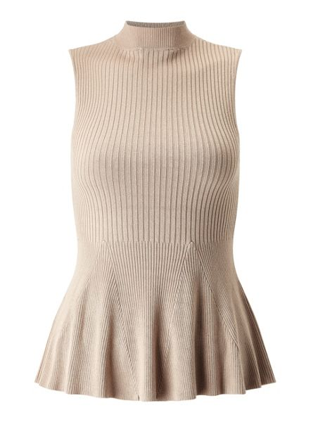 Miss Selfridge Camel Sleeveless Peplum Top
