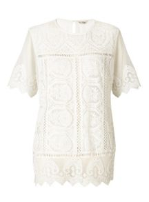 Miss Selfridge White Lace Scallop Tee