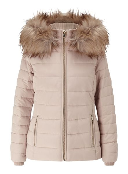 Miss Selfridge Nude Quilted Puffer Coat