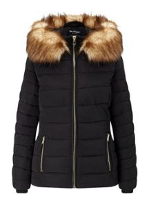 Miss Selfridge Black Quilted Puffer Coat