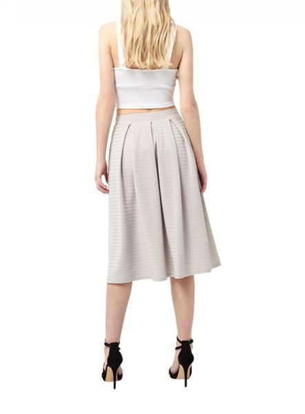 Miss Selfridge Grey Textured Midi Skirt