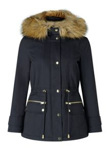 Miss Selfridge Petites Navy Parka Coat