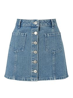Petites Blue Denim Mini Skirt