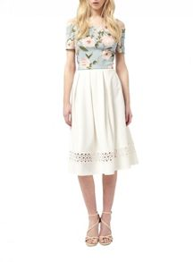 Miss Selfridge Ivory Lace Insert Midi Skirt