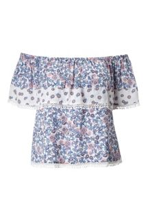 Miss Selfridge Petites Floral Bardot Top