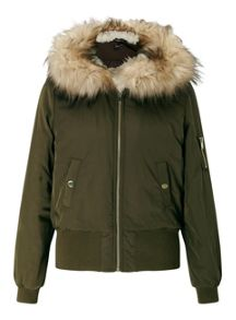 Miss Selfridge Khaki Hooded Bomber Jacket