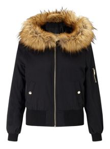 Miss Selfridge Black Hooded Bomber Jacket