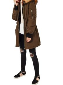Miss Selfridge Khaki Luxe Long Line Bomber