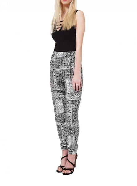 Miss Selfridge Mono Print Patchwork Jogger