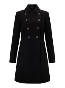 Miss Selfridge Black Double Breasted Coat