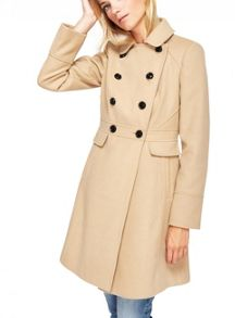 Miss Selfridge Camel Double Breasted Coat