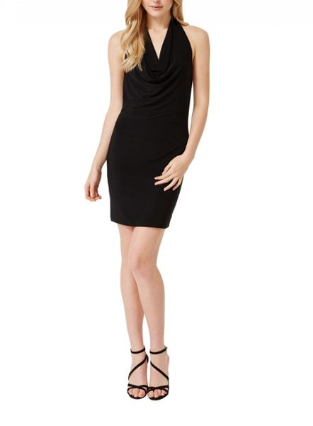 Miss Selfridge Black Cowl Halter Dress