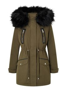 Miss Selfridge Petite Khaki Lux Parka Coat