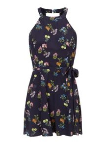 Miss Selfridge Petites Navy Floral Playsuit