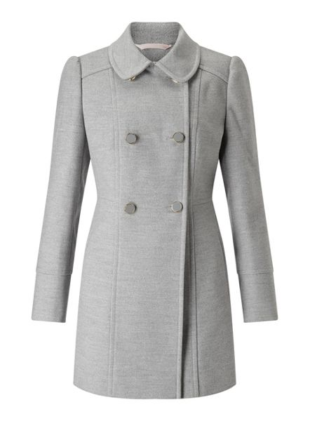 Miss Selfridge Petites Grey Pea Coat